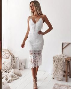 Spaghetti Straps Tight Ankle Length White Lace Formal Dress Popular Dresses, Party Dresses For Women, Formal Dresses, Coral Homecoming Dresses, White Lace, White Dress, Dress Lace, Short Summer Dresses, Bodycon Dress Parties