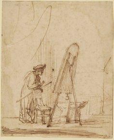 Rembrandt van Rijn, An Artist in his Studio on ArtStack #rembrandt #art