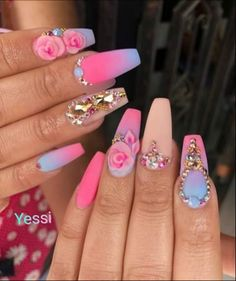 Looking for the Best Nail Art? Today we have 27 of the Best Nail Art of Ongles Bling Bling, Bling Nails, Swag Nails, Fabulous Nails, Perfect Nails, Gorgeous Nails, Stylish Nails, Trendy Nails, Cute Nails