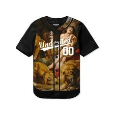 Lion's Den Baseball Jersey | UNDERATED (£80.00) ❤ liked on Polyvore featuring tops, t-shirts, jerseys, shirts, brown shirt, henley shirt, lion king shirt, jersey tee and baseball t shirt