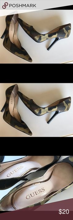Guess CAMO classic pumps heels sandals shoes 6 Guess CAMO classic pumps heels sandals shoes 6 Great gently worn condition. Comes from a clean and smoke free environment. These look super sexy with skinny jeans or a cute little simple summer dress Guess Shoes Heels