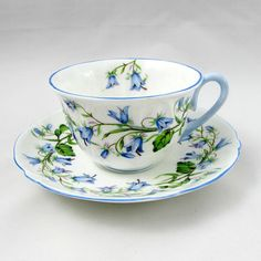A Shelley Harebell demitasse and saucer. Bone China and very pretty.