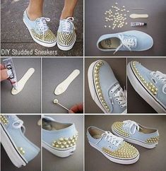 All you need is some E-gooo and some little studded stones. You will be able to glue these onto your shoes and make them look cool or make some symbols. You can make them look how you want them to with no problem. You will only be doing this for about 5...