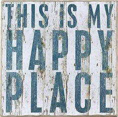 This Is My Happy Place - Vintage Plank Board Beach Coastal Decor Box Sign - Jumbo 18-in x 18-in