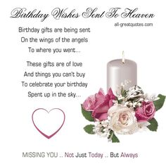 Birthday Wishes Sent To Heaven Gifts Are Being On The Wings