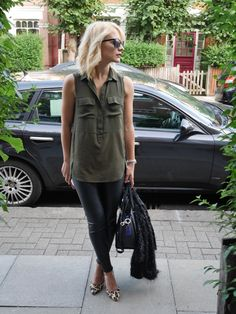 cocomamastyle | mum style blog UK | outfit of the day | khaki shirt and black leather leggings, leopard shoes heels, blonde wavy bob, red lips, kate spade bag