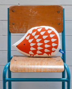 Hand Screen Printed Hedgehog Pillow in Burnt Orange by robinandmould on Etsy