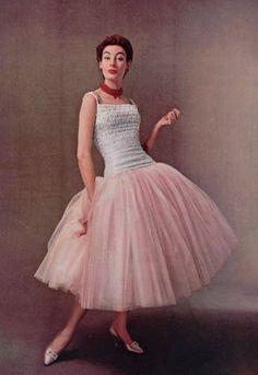 05f5358497 1954 Christian Dior vintage designer couture pink cocktail evening dress  ballet length white top model magazine