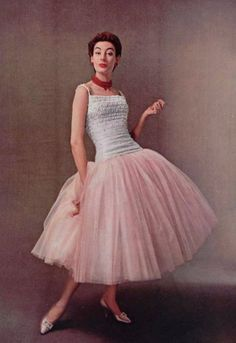 1954 Christian Dior vintage designer couture pink cocktail evening dress ballet length white top model magazine 50s tulle chiffon full skirt gown