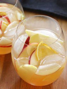 White Candy Apple...1 c. Shellback Rum Silver  1 bottle moscato  1½ c. apple cider  1 c. ginger ale  Garnish: apple and lemon slices