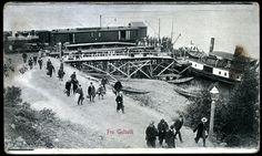 Buskerud fylke Bergensbanen GULSVIK. Tog, båt og reisende. Stpl. Gol 1908