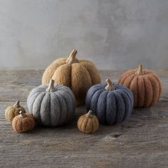 These adorable, lifelike pumpkins are crafted from plump felted wool and capped with a resin stem.- Wool, resin- Clean gently with damp cloth- Importe Felt Mushroom, Halloween Entertaining, Felt Decorations, Felt Food, Diy Pumpkin, Felt Fabric, Halloween Party Decor, Felt Christmas, Felt Crafts
