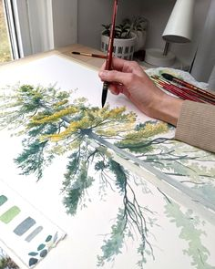 If you'd like to hear about the process of this giant (by my standards) pine tree painting, head on over … Pine Tree Painting, Tree Watercolor Painting, Watercolor Painting Techniques, Simple Watercolor, Tattoo Watercolor, Watercolor Animals, Watercolor Flowers, Watercolor Background, Abstract Watercolor