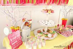 "Lots of cute ideas at the girl first birthday ""Daisies and Donuts"""