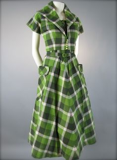 #Vintage 1940's- 1950's Green Check Patterned #Picnic Sun #Dress and Bolero by Annetta New York