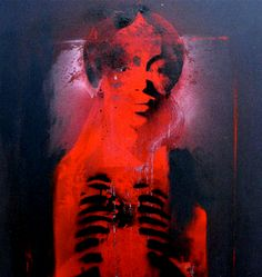 """Robert Del Naja painting from UNKLE's War Stories album entitled """"Bloody Mary""""."""