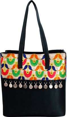 Phulkari cotton silk and PU handcrafted bag<br> Zipper Closure<br> Coin work at front