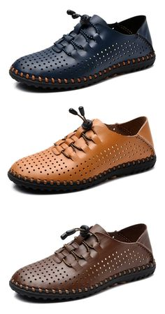 Knitting Lace Up Flat Leather Casual Pure Color Breathable Shoes