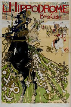 Boulevard de Clichy L'Hippodrome poster, Manuel Orazi An Italian with a Spanish first name, Orazi's career was spent mostly in Paris doing Art Nouveau style illustration when he wasn't involved in depicting the occult. Art And Illustration, Gravure Illustration, Mermaid Illustration, Vintage Illustrations, Alphonse Mucha, Vintage Circus, Vintage Art, Vintage Graphic, Vintage Beauty