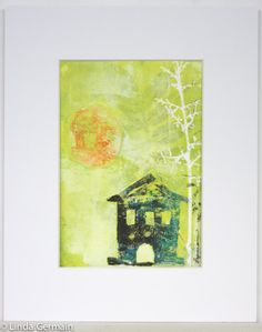 Art House and Moon Silhouette Monotype home decor by StudioGermain