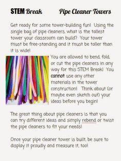 Growing a STEM Classroom: STEM Break with Pipe Cleaners