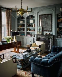 Library in a French Gray. Blue gray.
