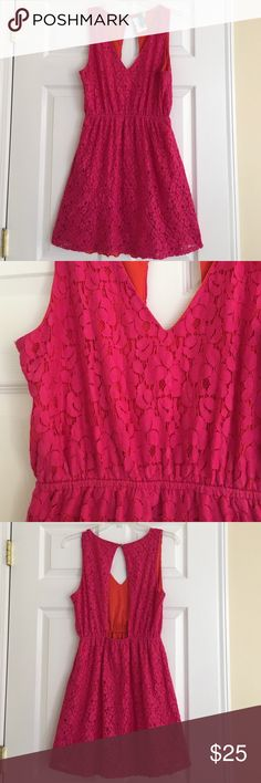 Hot pink lace dress with low back Love the hot pink and orange with the surprise low back! EUC. 34 inches long. Elastic waist. 70% cotton, 30% nylon. Dresses Backless