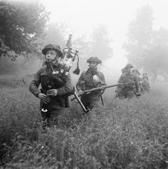 Led by their piper, Scottish soldiers ofBritish 7th Seaforth Highlanders, 15th Division, advance through France during Operation Epsom. Operation Epsom was an offensive that was intended to outflank and seize the German-occupied city of Caen. Normandy, France.26 June 1944.