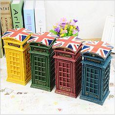 Modelo de resina Estilo British Union Jack Cabina de Teléfono Alcancía Buzón Caja de Dinero de Regalo de Cumpleaños(China (Mainland))