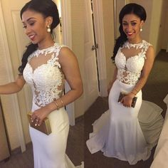 mermaid prom dresses, white prom dresses, lace appliques prom dresses, court train prom dresses, wedding dresses, bridal dresses#SimiBridal #promdresses
