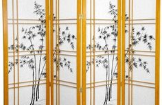 Oriental Furniture Japanese Decor 48-Inch Low Double Cross Bamboo Tree Shoji Screen Room Divider, Honey 4 Panel