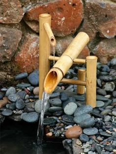 Fountains on pinterest for Japanese bamboo water feature