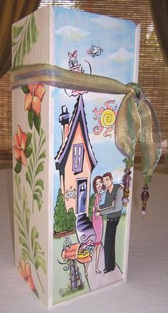 A hand painted personalized wood wine box makes a great wedding and house warming gift.