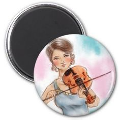 Colorful pink & blue vintage Round Magnet - Violin - classic gifts gift ideas diy custom unique