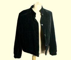 3ea2c0bd045 Vintage black velvet jacket Women s pilot jacket 80x Black Velvet Jacket