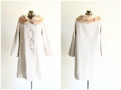 60s coat  1960s Mad Men coat with fur collar  by YatesVintage