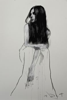 "Mark Demsteader - ""Bethany seated 3"", pastel & collage, 46in x 32in."