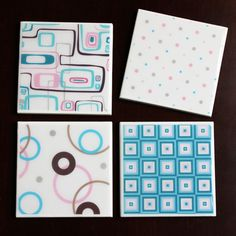 Pink, Blue, and Brown Tile Coasters - pinned by pin4etsy.com