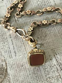 Tri- Gold/F Watch and BookChain Bracelet w/ Carnelian Wax Seal Fob   @CELESTEANDCOGEMS by CelesteandCoGems on Etsy