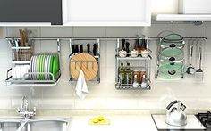 Home Steel Wall Mount Dish Drying Racks is part of 20 Modern Dish Drying Racks For Kitchen Organizer. Tagged with Kitchen Drying Ideas, Drying Organizer, Dish Drying Racks. Kitchen Organisation, Diy Kitchen Storage, Home Organization, Kitchen Racks, Utensil Storage, Kitchen Interior, New Kitchen, Kitchen Decor, Kitchen Modern