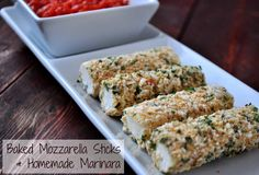 These baked mozzarella sticks and homemade marinara keep the HUNGRIES at bay. Love that they are low-calorie and freeze beautifully.