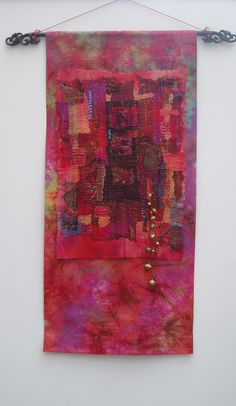 """City of Diversity"". Dyed cotton background fabric with a Kantha stitched centre panel by Jill Dian Izzard. Love this."