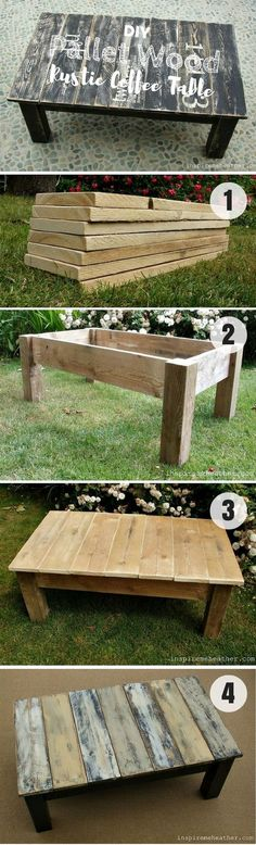 DIY pallet wood rustic coffee table, pallet wood, pallet projects, diy furniture, diy home decor, indoor table, outdoor table, rustic, farmhouse, home decor, easy to make, paint it or stain it, make it yourself #afflink