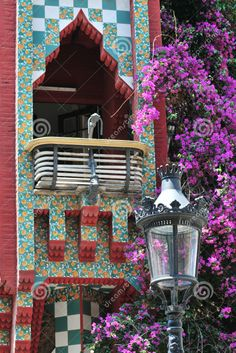 Photo about Balcony detail from Casa Vicens at Barcelona (Spain). It was Gaudi s first important work which is added to the UNESCO World Heritage Site. Architecture Antique, Beautiful Architecture, Art And Architecture, Art Nouveau, Antonio Gaudi, Madrid, Famous Places, Outdoor Art, Bougainvillea