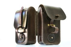Steampunk leather twin pouch 4 by AmbassadorMann