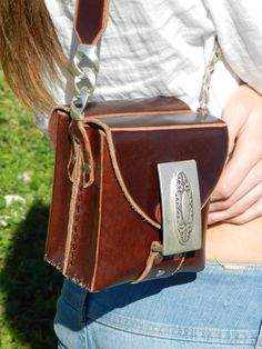 Leather bag, handmade, with double Steel Buckle, handle with leather and chain, original, unique and exclusive as you.. €155.00, via Etsy.