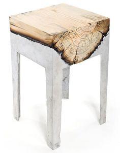 Chairs made from trees and molten metal.