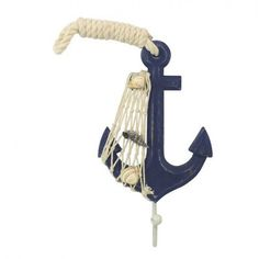 Handcrafted Nautical Decor Anchor Wall Décor with Hook Color: Blue