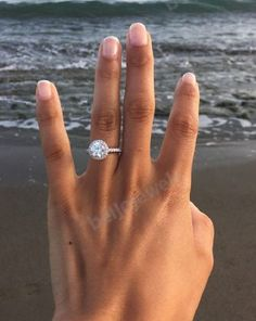 1 CT D/VVS1 ROUND CUT DIAMOND ENGAGEMENT RING 14K WHITE GOLD FINISH #Beijojewels #SolitaireWithAccentsHaloEngagementRing
