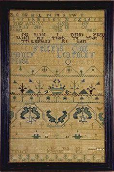Mary Dixwell antique needlework sampler Boston, Massachusetts from Huber
